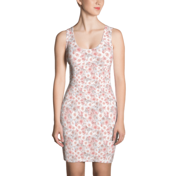 Pink And White Roses Dress