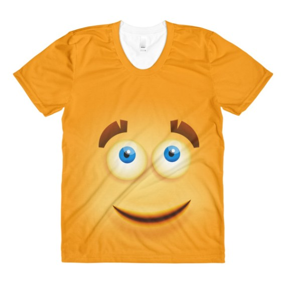 women's Funny yellow smiley face crew neck t-shirt