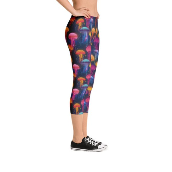 women's Rainbow Jellyfish Capri Leggings