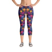 women's Rainbow Jellyfish Capri Leggings