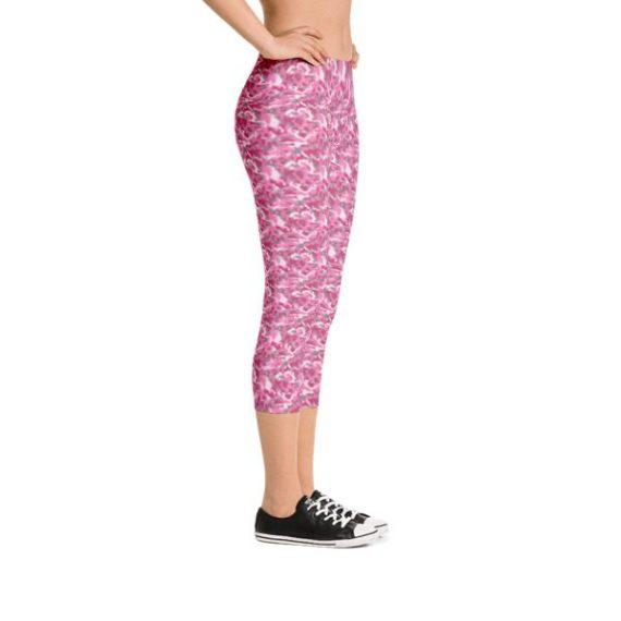 Pink Camouflage Capri Leggings