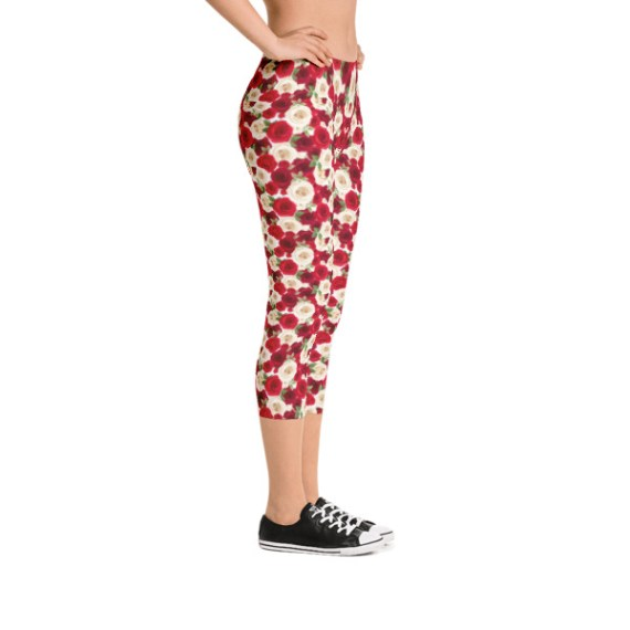 Red And White Roses Capri Leggings