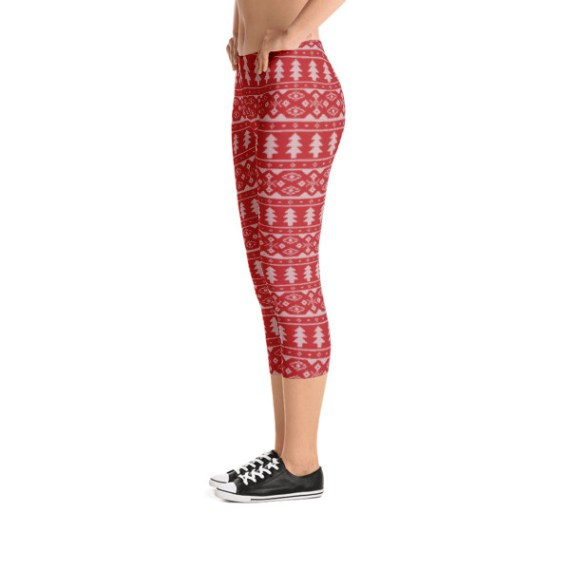 Women's Christmas Tree Capri Leggings