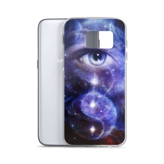 blue women eye , with space and stars, with symbol yin yang, Samsung Case