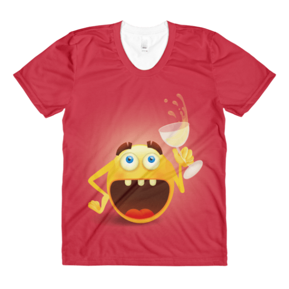 women's Funny laughing smiley emoji face with glass of wine crew neck t-shirt