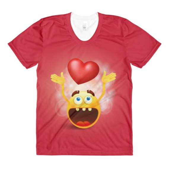 women's Round yellow smiley Emoji face with heart sign crew neck t-shirt