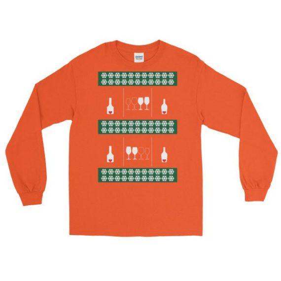 Ugly Christmas Sweaters - Love Wine Long Sleeve Shirt