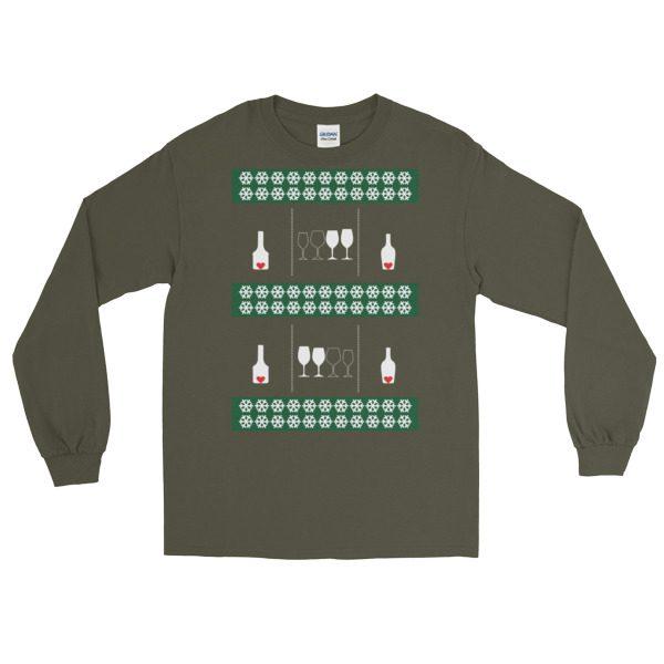 ugly christmas sweaters love wine long sleeve shirt