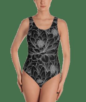 Beautiful Black and White Lotus Flowers One-Piece Swimsuit - Women's Beachwear Bathing Suit