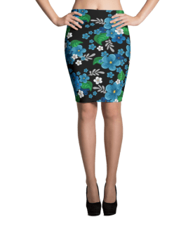 Blue Forget me not Flowers Pencil Skirt