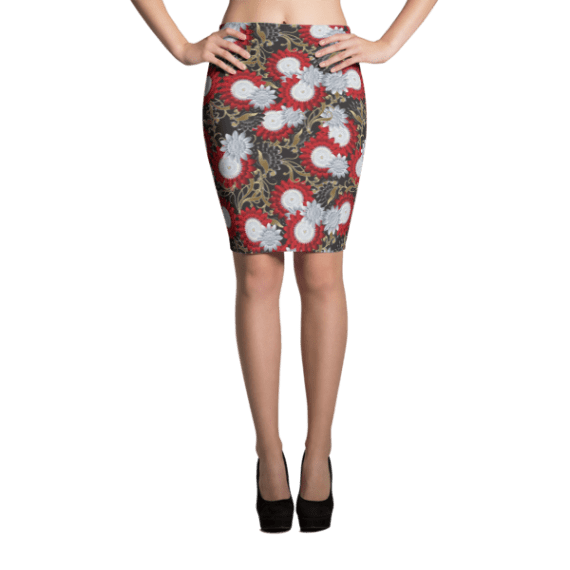 Bright White, Red and Gold Floral Pencil Skirt