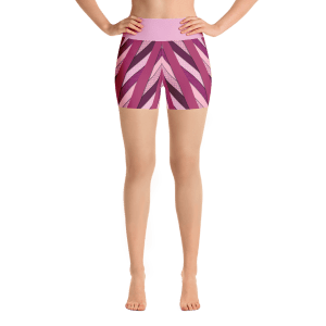 Elegant Pink and Violet Stripes Yoga Short Pants with a Small Inner Pocket