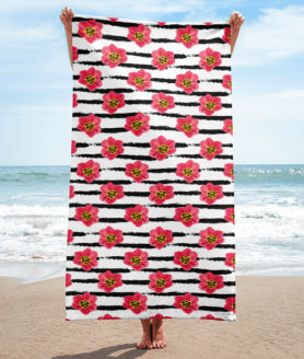 Elegant Pink Flowers and White Stripes Towel