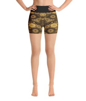 Fancy Golden Roses Yoga Short Pants with a Small Inner Pocket