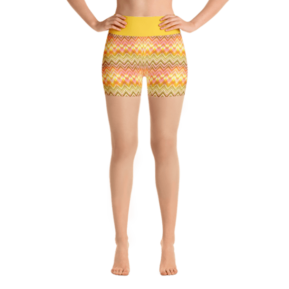 Fancy Multicolored Stripes Yoga Short Pants with a Small Inner Pocket
