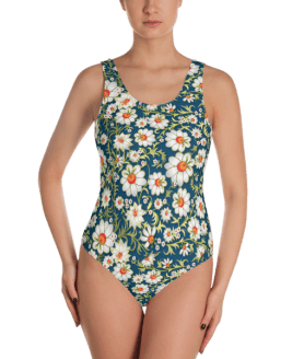 Floral Ornament One-Piece Swimsuit - Women's Beachwear Bathing Suit