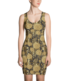 Golden Luxury Flowers Dress