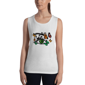 Ladies' Cute Green Realistic Eye and Butterflies Muscle Tank Top