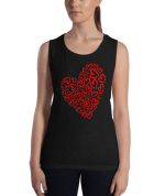 Ladies' Red Hearts Muscle Tank Top