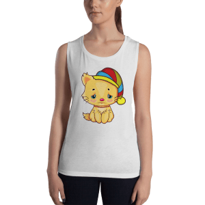 Ladies' Sad Cat Muscle Tank Top