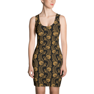 Ladies' Fashion Golden Floral Dress