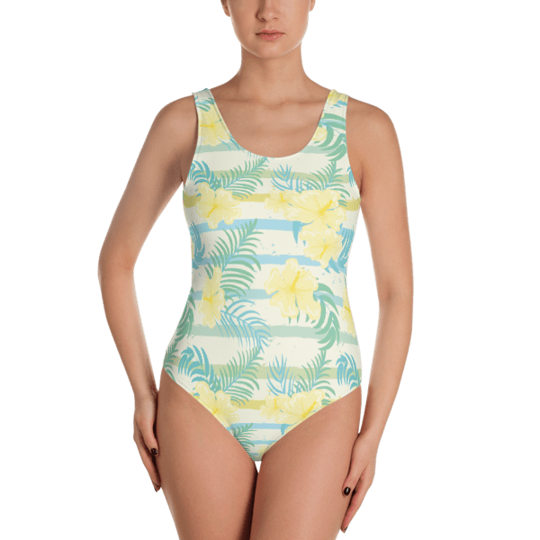 1851f6b7afd Light Blue Stripes and Yellow Tropical Flowers One-Piece Swimsuit - Ladies'  Beachwear Bathing