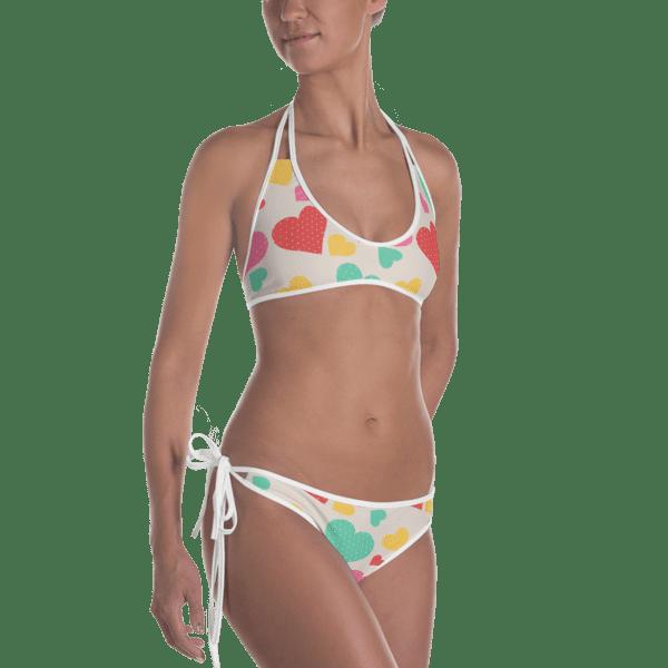 8633dfc902d Multi Colored Hearts Reversible Bikini - Women's Beachwear Bathing Suit