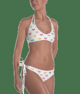 Multi Colored Hearts Reversible Bikini - Women's Beachwear Bathing Suit