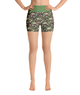 Multicolored Military Camouflage Yoga Short Pants with a Small Inner Pocket