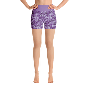 Purple Military Camouflage Yoga Short Pants with a Small Inner Pocket