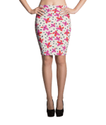 Red and Pink Flowers with Dark Dots Pencil Skirt