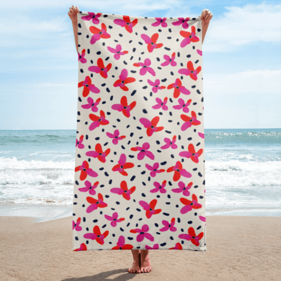 Red and Pink Flowers with Dark Spots Towel