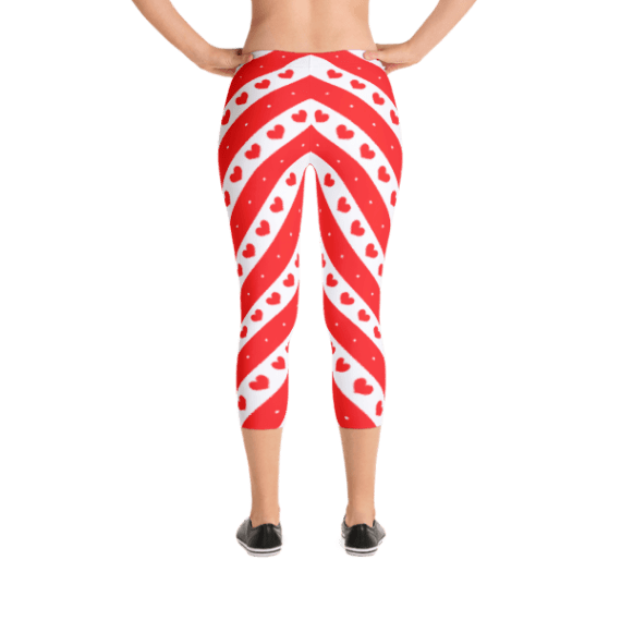 Red and White Stripes With Romantic Hearts Capri Leggings