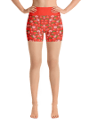 Red Strawberries Yoga Short Pants with a Small Inner Pocket