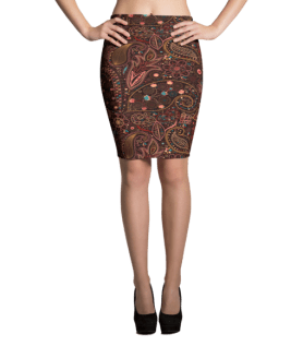Rosy and Golden Floral Print Pencil Skirt