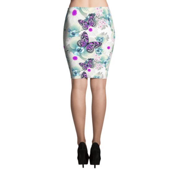 Sexy Flowers with Butterflies Pencil Skirt