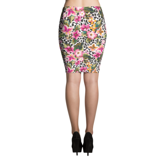 Sexy Ladies' Leopard with Flowers, Formal Cocktail Party Pencil Skirt