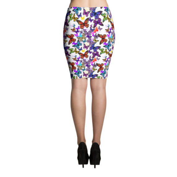 Shiny Multi Colored Butterflies Pencil Skirt