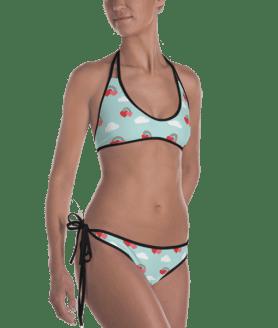 Shiny Rainbows with Clouds and Hearts Reversible Bikini - Women's Beachwear Bathing Suit