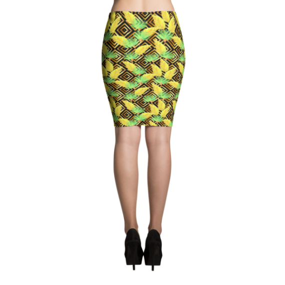 Tropical Gold Luxury Leaves and Flowers Pencil Skirt