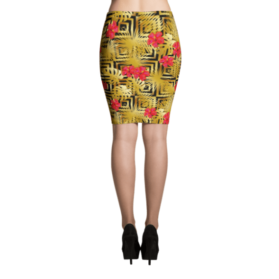 Tropical Gold Luxury Palm Leaves and Hibiscus Flowers Pencil Skirt