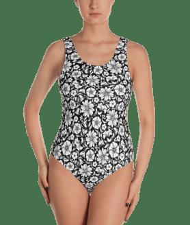 White and Black Roses One-Piece Swimsuit - Ladies' Beachwear Bathing Suit