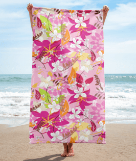 White and Pink Flowers and Colorful Leaves Towel