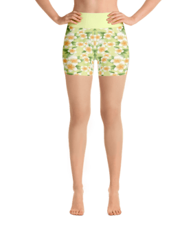 White Frangipani Flowers Yoga Short Pants with a Small Inner Pocket