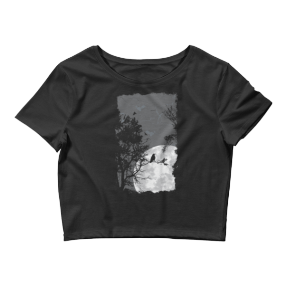 Women's Birds and Tree on Negative Space Crop Top