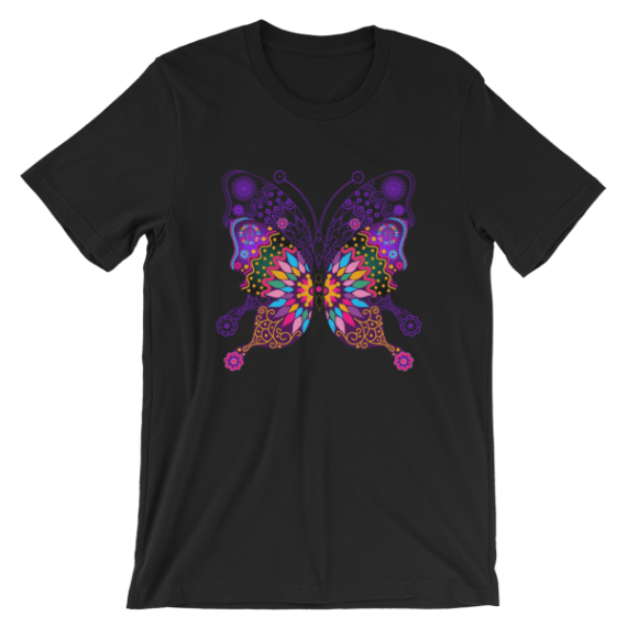 Women's Colorful Butterfly Short Sleeve T-Shirt