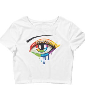 Women's Crying Rainbow Color Eye Crop Top