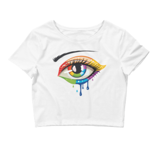 Women's Crying Rainbow Color Eye Crop Top