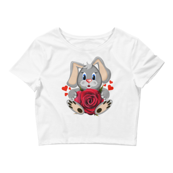 Women's Cute Bunny with Red Hearts and Rose Crop Top