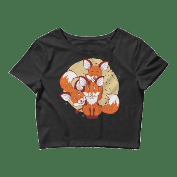 Women's Cute Foxes Crop Top